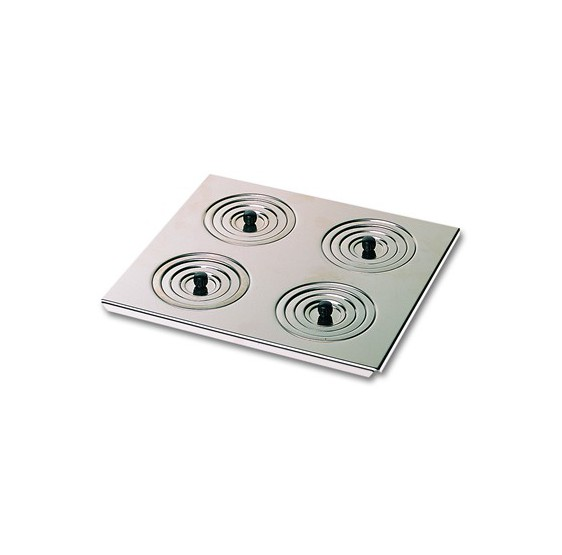 Flat steel lid with rings