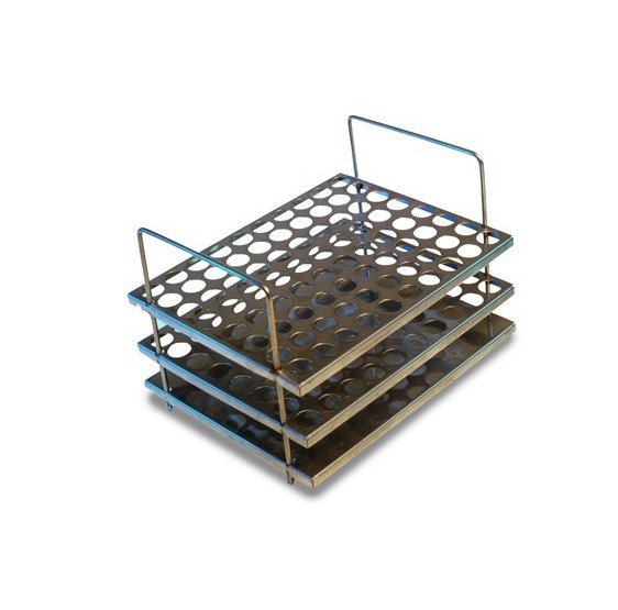 Three level steel test tube rack 60 holes